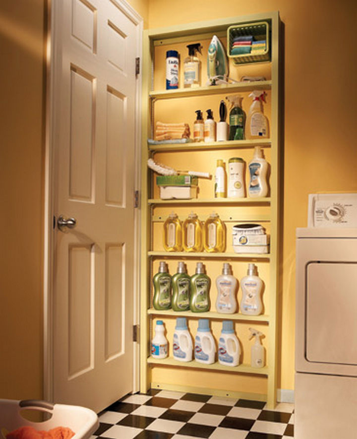 18 DIY Storage Ideas For Your Home - Use the space behind your door with behind-the-door shelves.