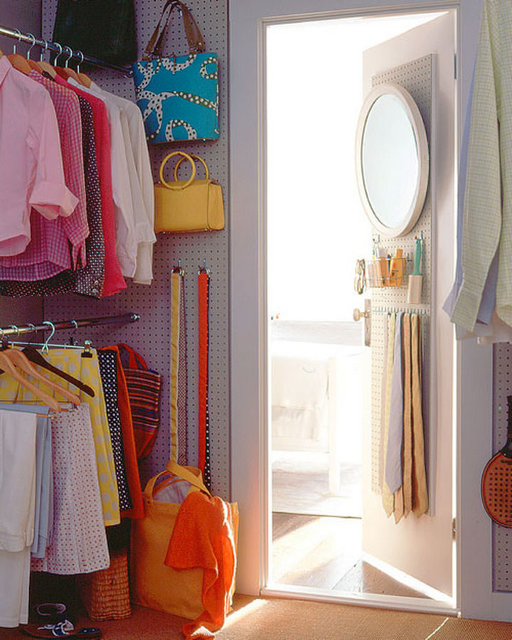 18 DIY Storage Ideas For Your Home - Keep items off the closet floor by building a closet pegboard wall.