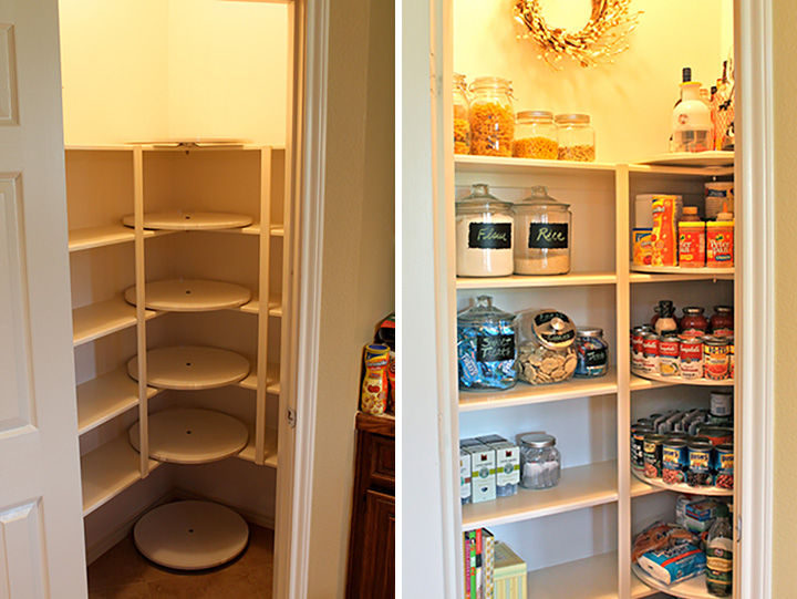 18 DIY Storage Ideas For Your Home - Get the most out of your pantry by installing lazy susans.