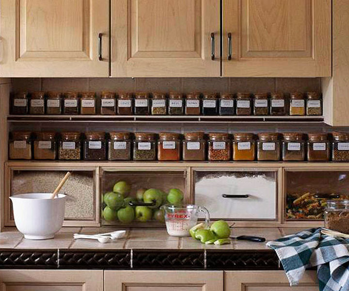 18 DIY Storage Ideas For Your Home - Build a spice rack and drawers for dried goods underneath your kitchen cupboards.