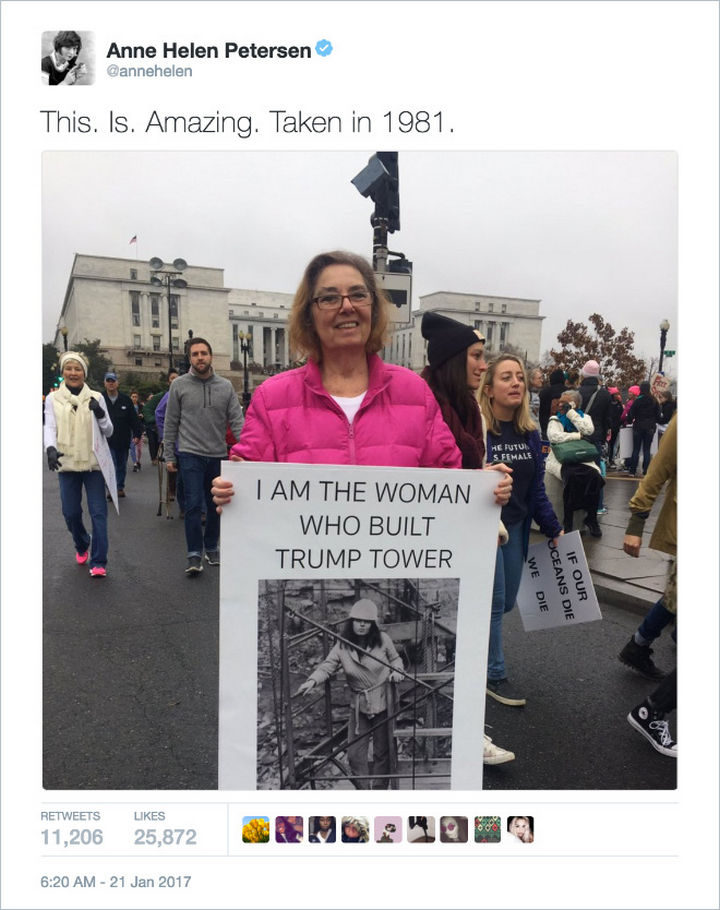 """20 Epic Women's March Signs - """"I am the woman who built Trump Tower."""""""