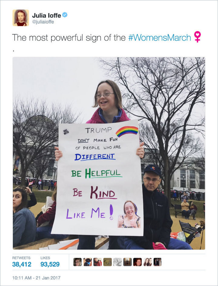 """20 Epic Women's March Signs - """"Trump, don't make fun of people who are different. Be helpful. Be Kind. Like me!"""""""