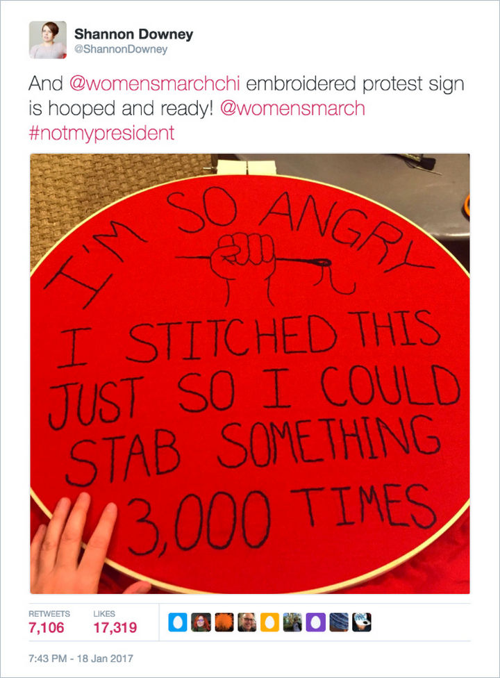 "20 Epic Women's March Signs - ""I'm so angry I stitched this just so I could stab something 3,000 times"""