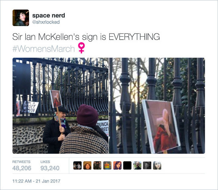 """20 Epic Women's March Signs - """"Sir Ian McKellen's sign is EVERYTHING."""""""