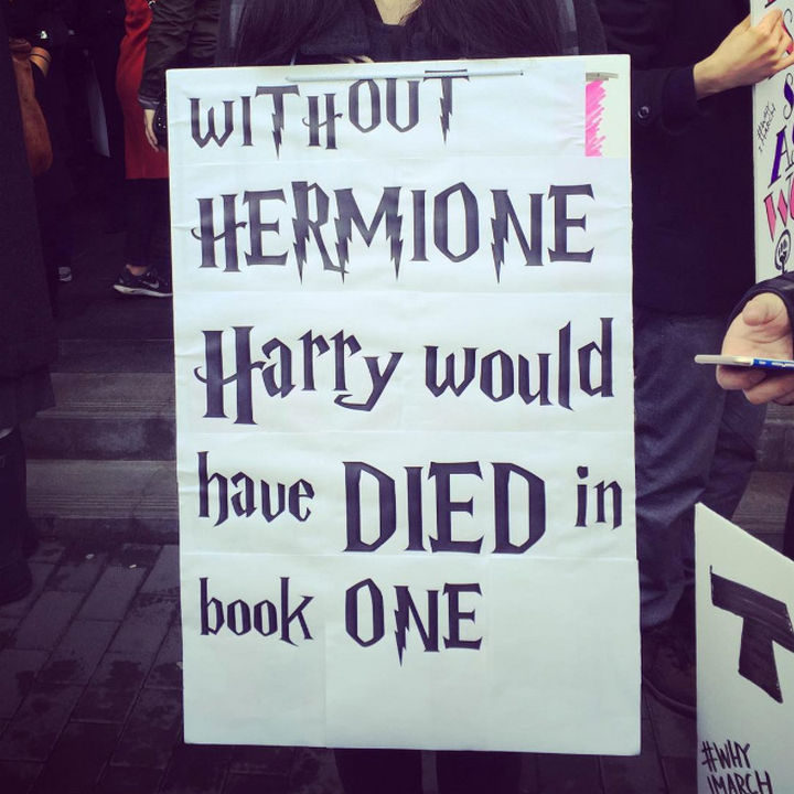 """20 Epic Women's March Signs - """"Without HERMIONE, Harry would have DIED in book ONE."""""""