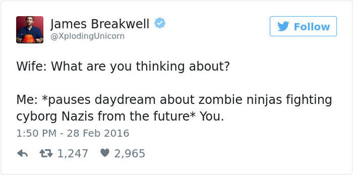 """""""Wife: What are you thinking about? Me: *pauses daydream about zombie ninjas fighting cyborg Nazis from the future* You."""""""