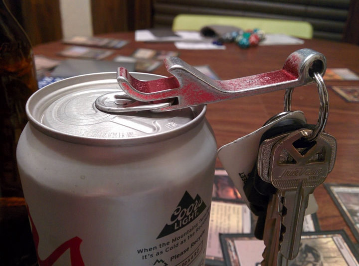 20 Everyday Life Hacks - Prevent chipped nails by using the slot in your keychain bottle opener.