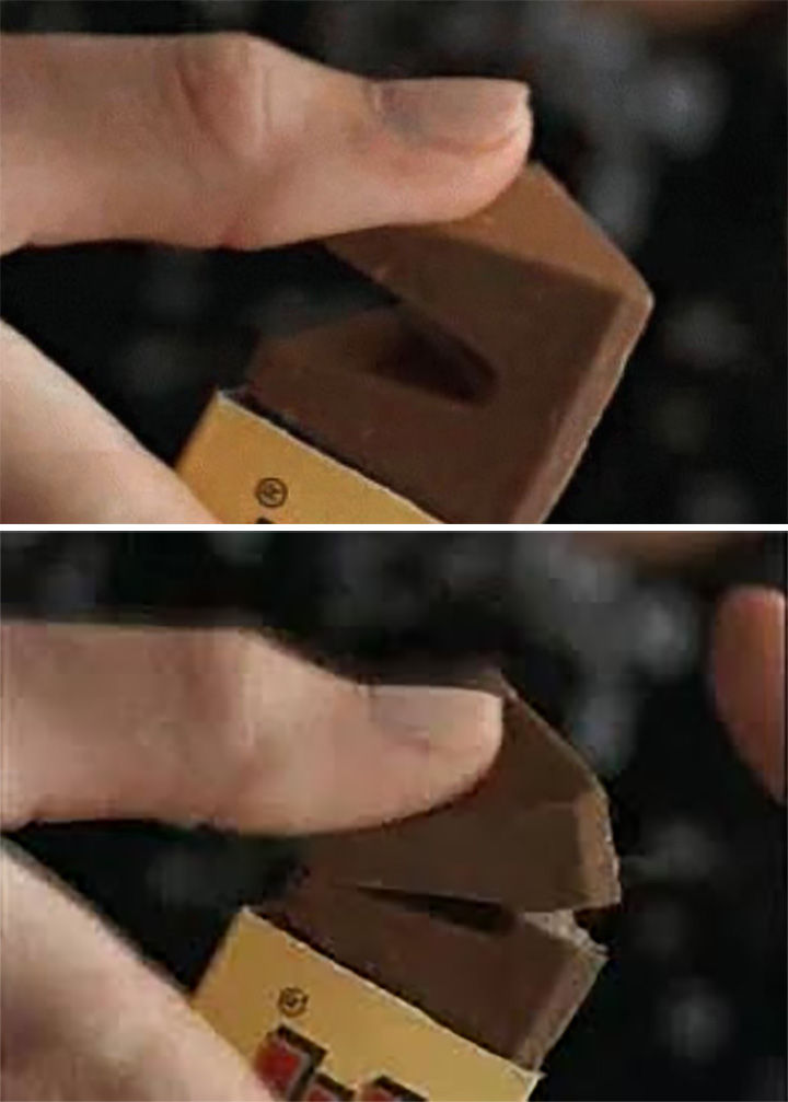 20 Everyday Life Hacks - The easiest way to break off a piece of a Toblerone bar is to push on a piece towards the bar.