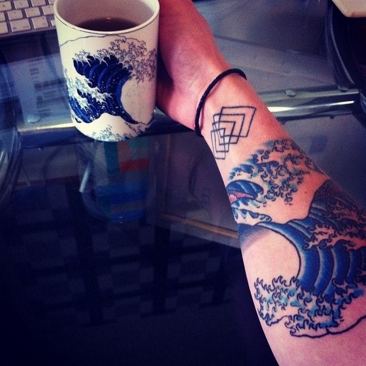 "22 Classical Art Tattoos - ""The Great Wave off Kanagawa"" byHokusai."