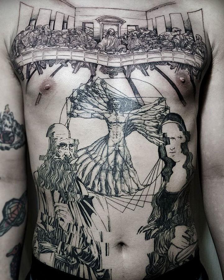 22 Classical Art Tattoos - Popular works by Leonardo da Vinci.
