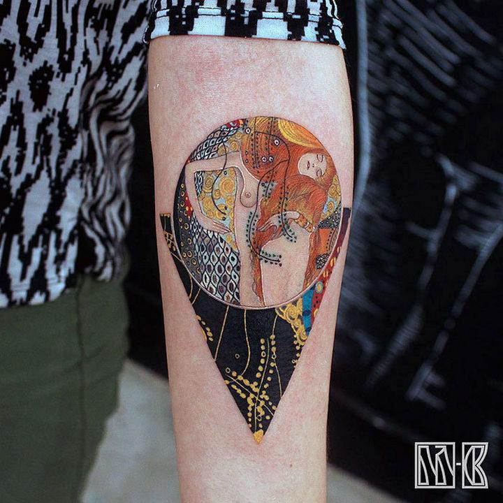 "22 Classical Art Tattoos - ""Water Serpents I"" by Gustav Klimt."