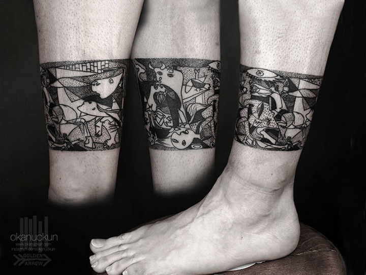 "22 Classical Art Tattoos - ""Guernica"" by Pablo Picasso."