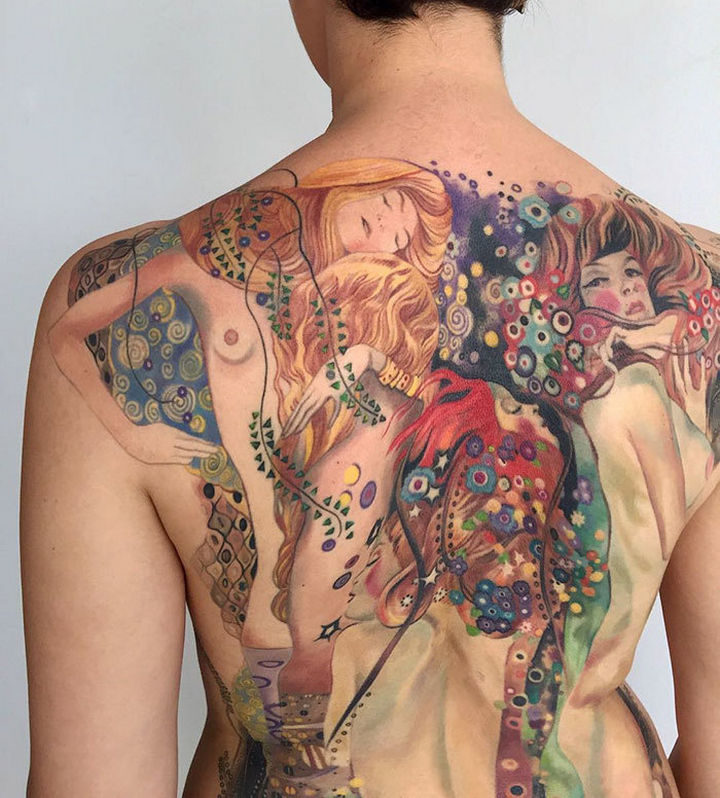 """22 Classical Art Tattoos - """"Water Serpents I"""" and """"Water Serpents II"""" by Gustav Klimt."""