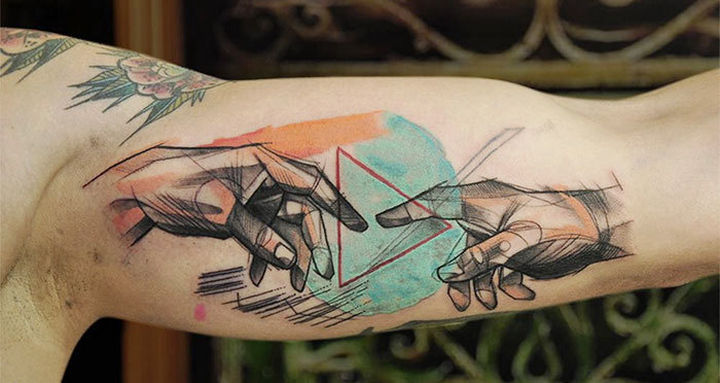 """22 Classical Art Tattoos - """"The Creation of Adam"""" by Michelangelo."""