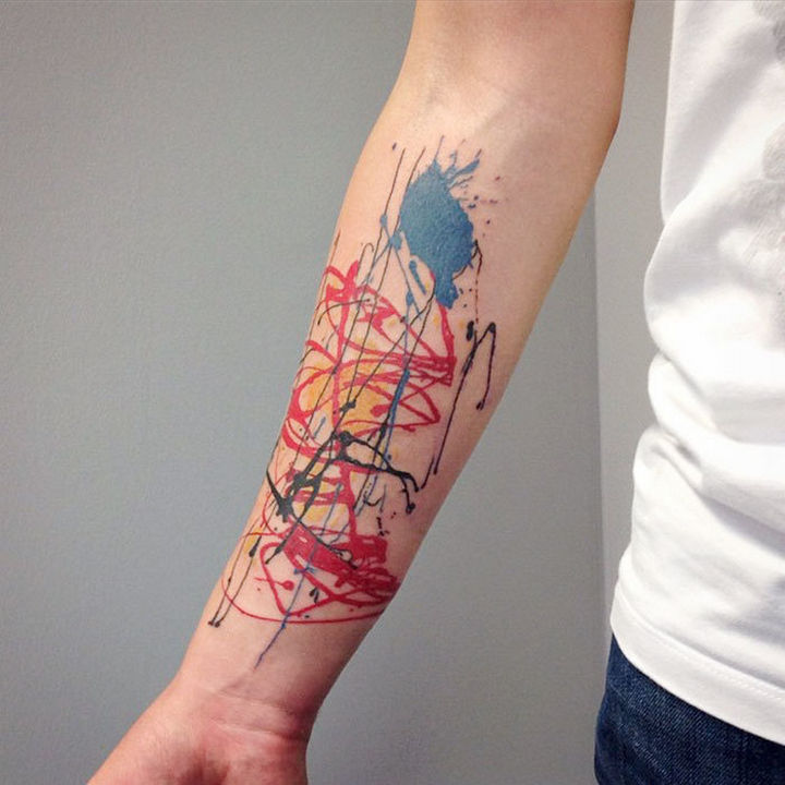 22 Classical Art Tattoos - Tattoo inspired by Jackson Pollock.