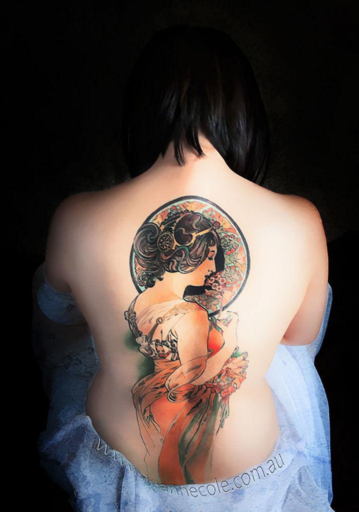 "22 Classical Art Tattoos - ""Primrose"" by Alphonse Mucha."
