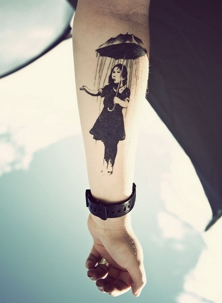 "22 Classical Art Tattoos - ""Nola Girl with Umbrella"" by Banksy."