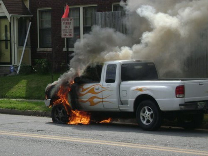 22 Funny Examples of Irony - Those flames look amazingly real. Oh...