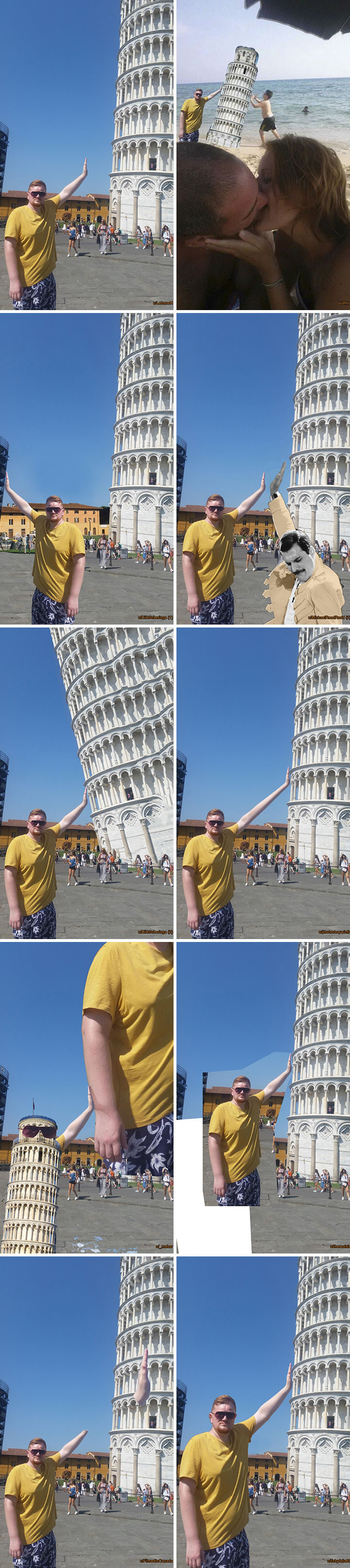 """25 Funny Photoshop Trolls - """"Can you Photoshop my hand onto the Leaning Tower of Pisa if possible?"""""""