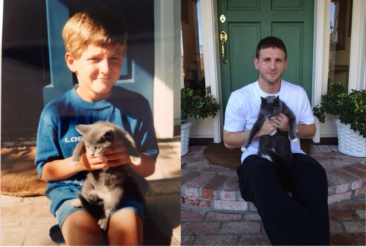 29 Before and After Photos of Family Cats - 17 years later, still best friends.