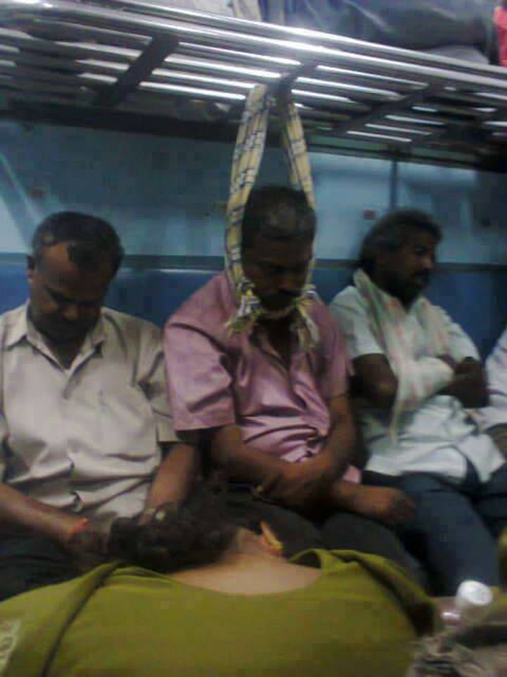 31 People Making the Best of a Bad Situation - Taking a nap on the ride home.