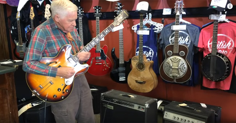 81-Year-Old Bob Wood Plays Guitar at British Audio Service in Nashville, TN.