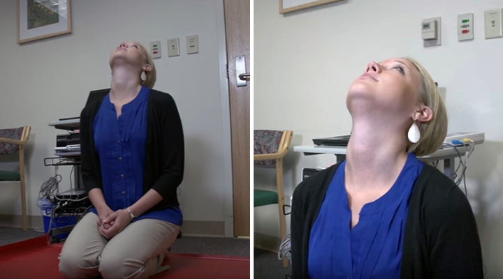 Benign Paroxysmal Positional Vertigo Treatment - Tip your head straight up and look at the ceiling.