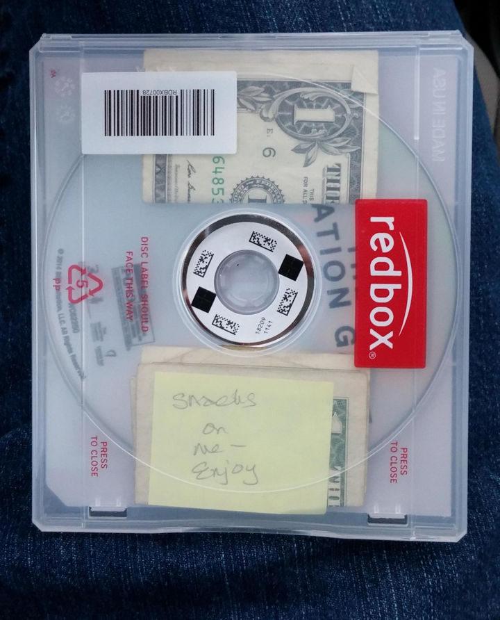 A kind stranger that left money for snacks in a CD rental case.