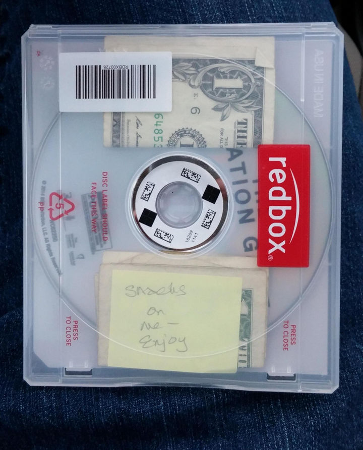 10 Random Acts of Kindness - A kind stranger that left money for snacks in a CD rental case.