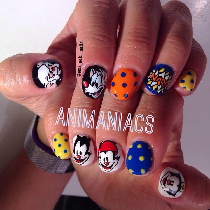 19 Cartoon Nail Art Designs - If you remember the Animaniacs theme song, you know it's catchy. These Animaniacs nails are just as brilliant.