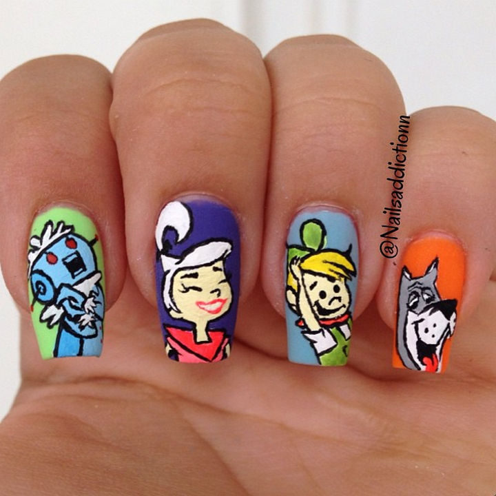 19 Cartoon Nail Art Designs - But let's not forget my favorite family from the future, The Jetsons!