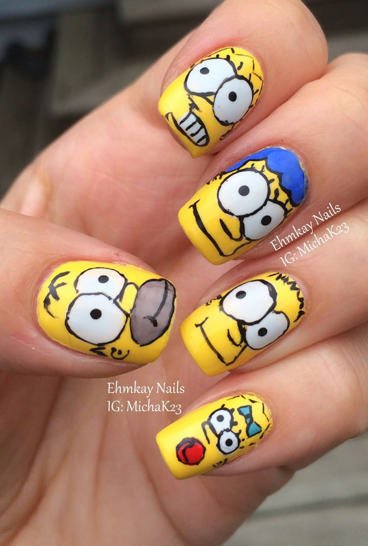 19 Cartoon Nail Art Designs - Can you believe The Simpsons premiered on the Tracey Ullman Show in 1987! 30 years later, they are still as popular as ever and so are Simpsons nails.