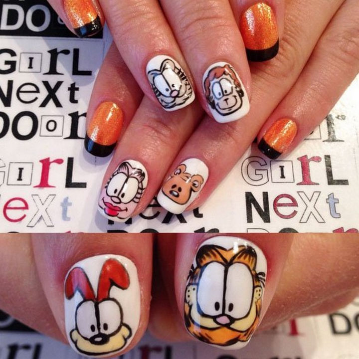 19 Cartoon Nails - Garfield and friends looks so cute in these Garfield nails.
