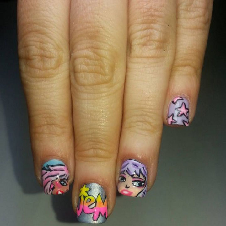 19 Cartoon Nail Art Designs - Be truly outrageous like Jem and The Holograms with these cute Jem nails!