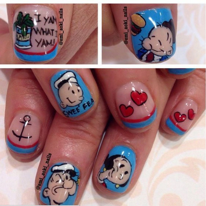 19 Cartoon Nails - Look as cute as Swee'Pea with this Popeye nail art design.