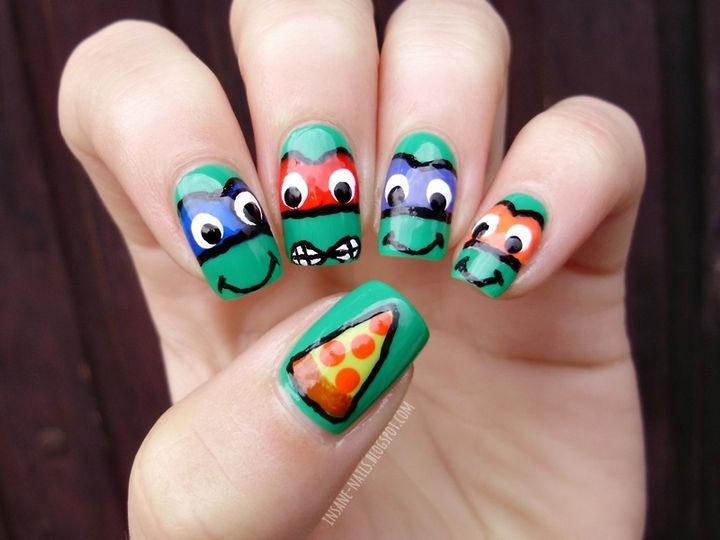 19 Cartoon Nail Art Designs - These Teenage Mutant Ninja Turtle nails are totally tubular dude. Cowabunga!