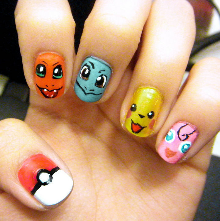 19 Cartoon Nail Art Designs - Catch 'em all with these Pokémon nails.