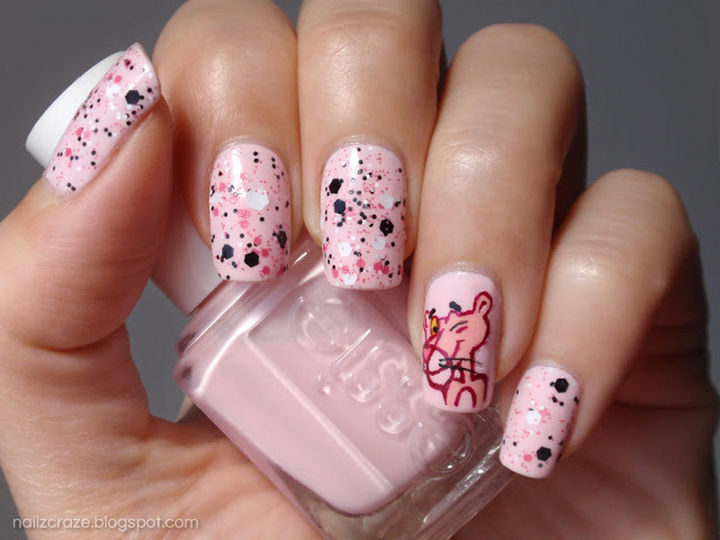 Looking sassy with Pink Panther nails.