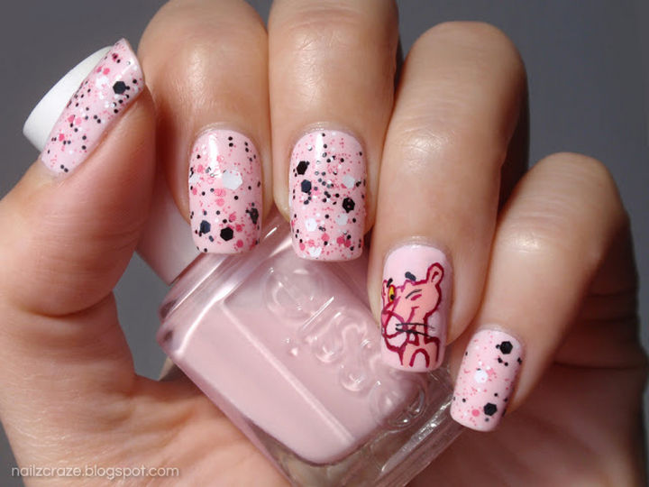 19 Cartoon Nails - Looking sassy with Pink Panther nails.