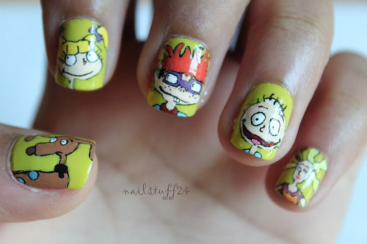 19 Cartoon Nail Art Designs - Celebrate Tommy Pickles and the entire gang with Rugrats nails!