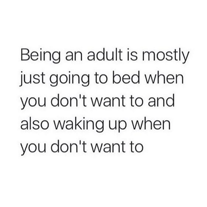 """23 Funny Adult Quotes - """"Being an adult is mostly just going to bed when you don't want to and also waking up when you don't want to."""""""