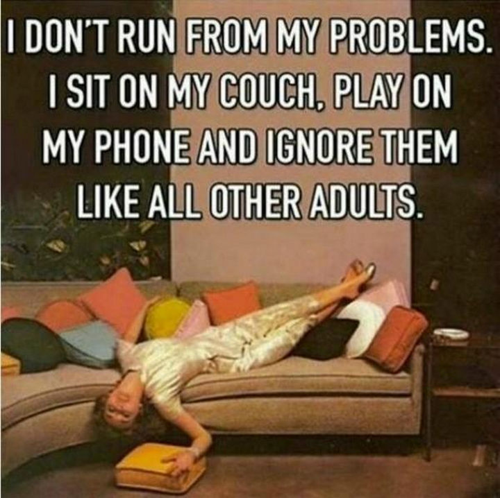 "23 Funny Adult Quotes - ""I don't run from my problems. I sit on my couch, play on my phone and ignore them like all other adults."""