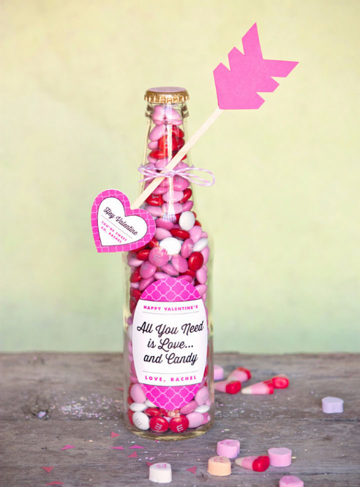 27 DIY Valentine's Day Crafts - Make Valentine candy bottles and heart arrows.