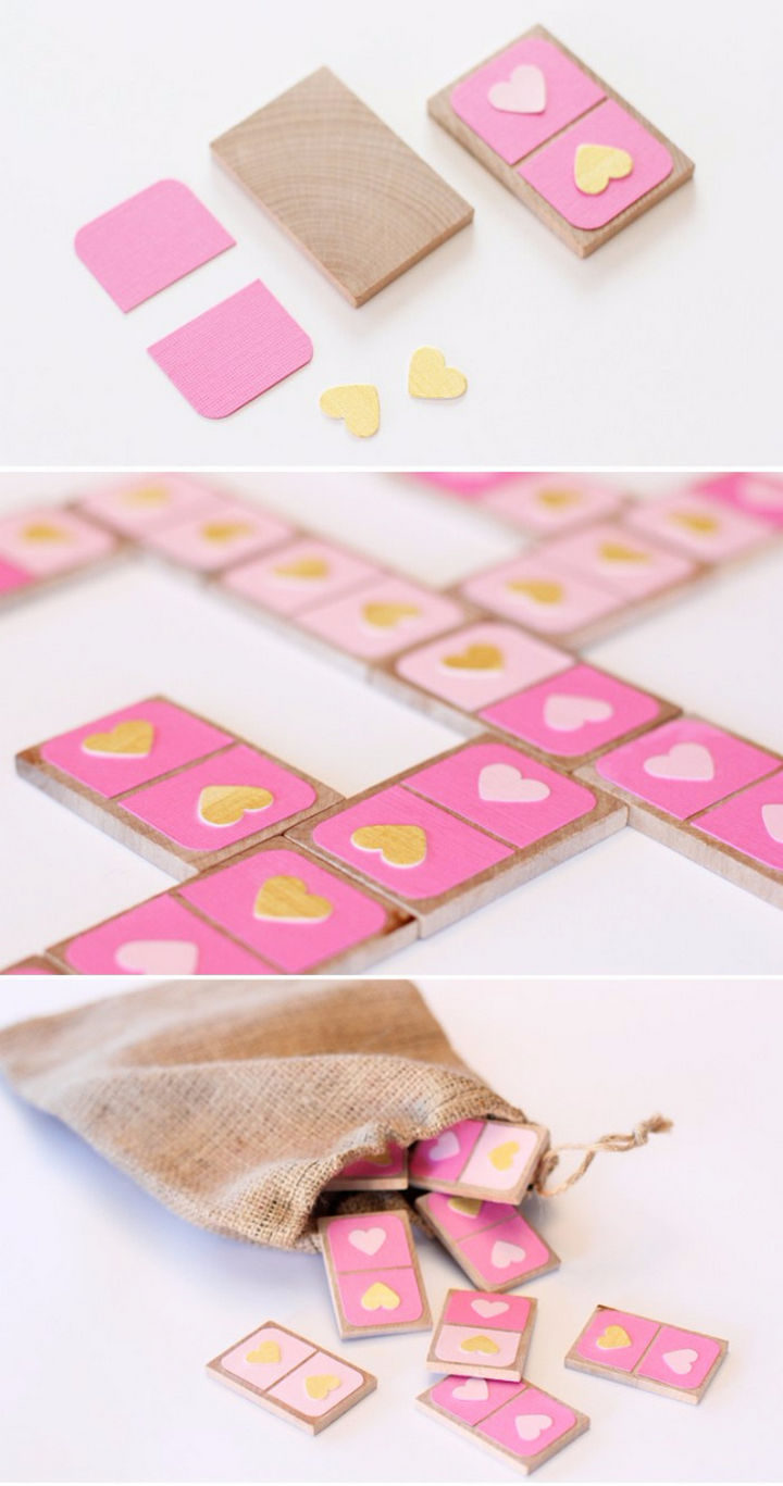27 DIY Valentine's Day Crafts - Make a Valentine's Day domino set.