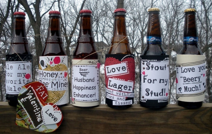 27 DIY Valentine's Day Crafts - Create custom beer bottle labels.