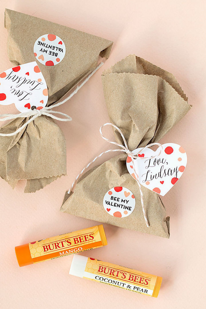 "27 DIY Valentine's Day Crafts - Assemble ""Bee My Valentine"" lip balm sachets."