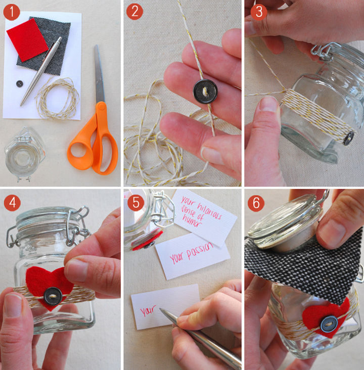 27 DIY Valentine's Day Crafts - Give your loved one a jar filled with 10 things you love about them.