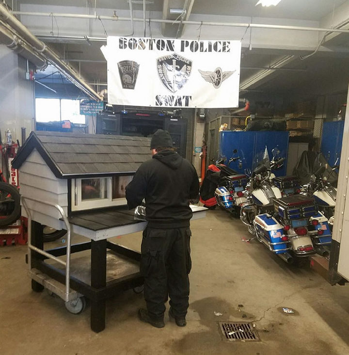 Every night, Officer Jamie Pietroski, a 15-year veteran of the Boston Police Department, stayed late after work to build a shelter with lots of room for their unofficial mascot, SWAT cat.