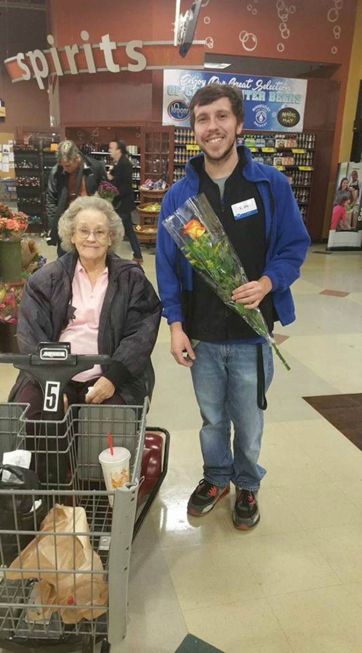 Kroger cashier surprises this 90-year-old birthday girl and her niece, Jeannettea Hollingshead, with a beautiful rose.