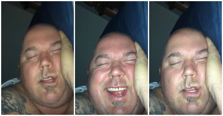 Wife Captures Her Man Laughing While Sleeping on Video.